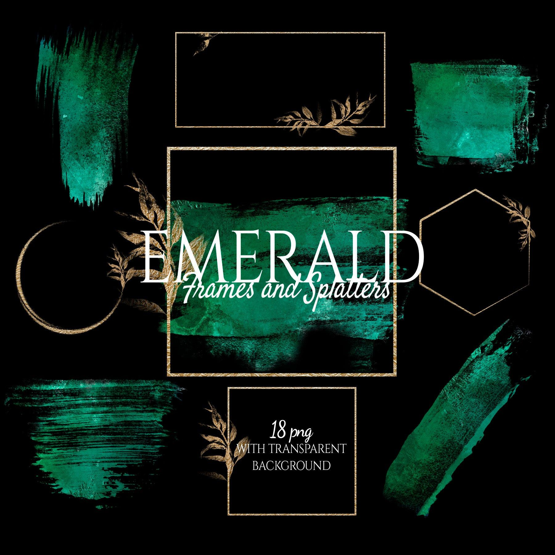 Emerald Watercolor Brush Strokes in Gold Foil Frames, Gold