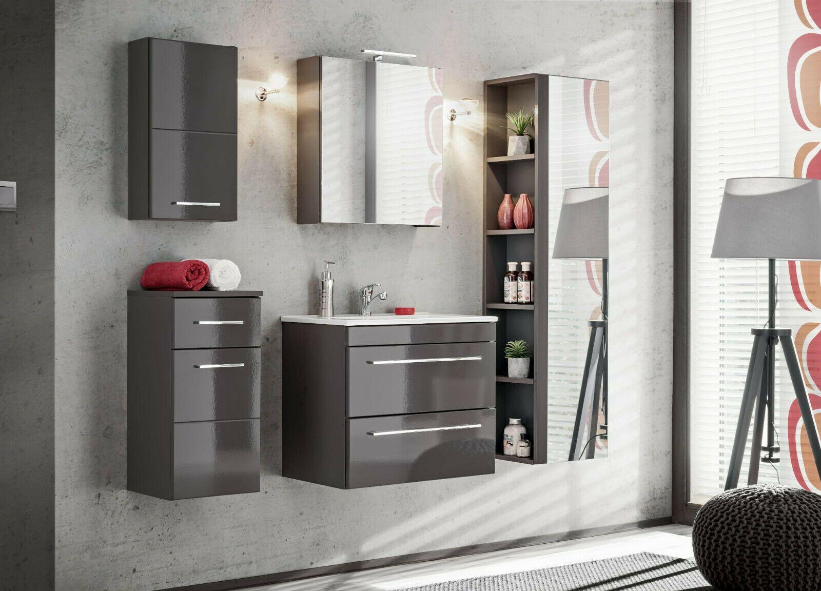 Badmobel Set Twist Grau 60 Badezimmer Spiegel Waschbecken Set 1 5 Hochschrank In 2020 Lagerschranke Modernes Badezimmer Waschbecken