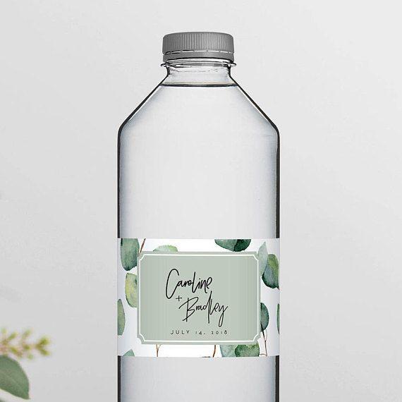 greenery wedding water bottle labels template eucalyptus printable