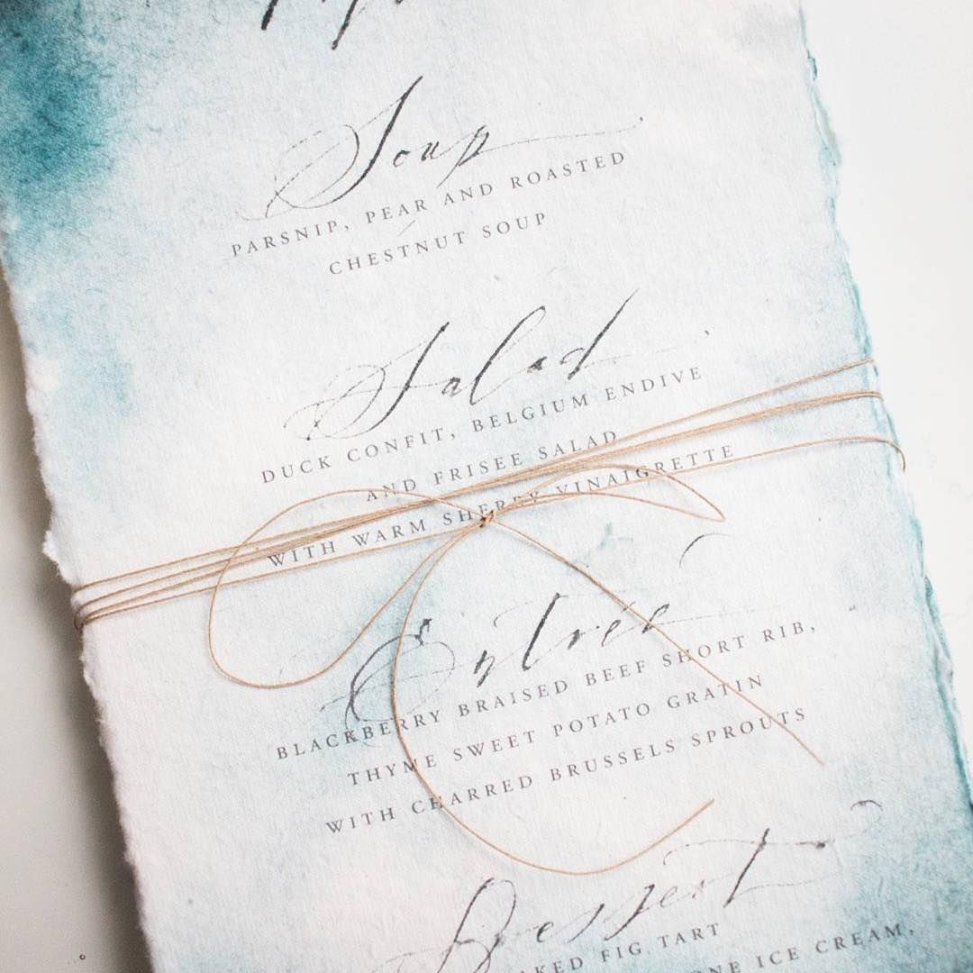 Watercolor Wash Menu With Calligraphy By Juliehacalligraphy On