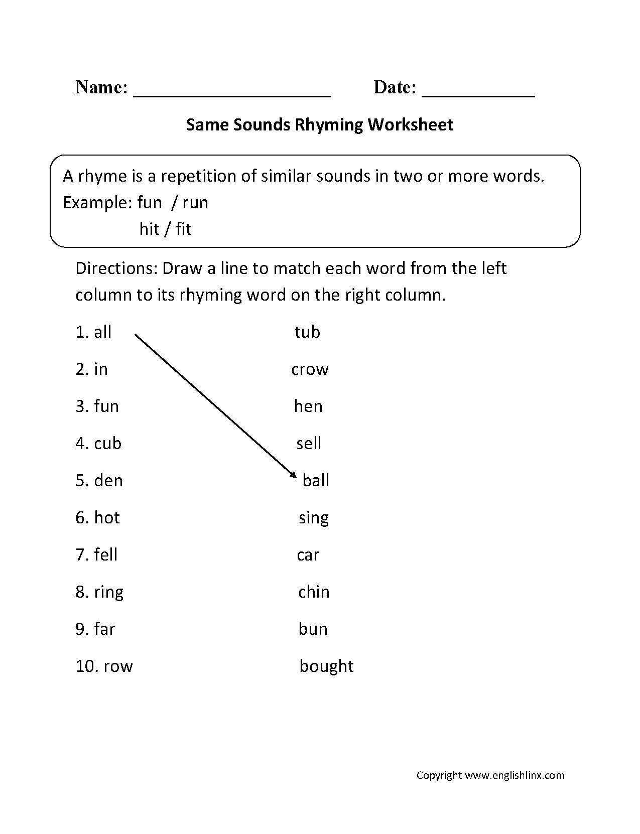 Same Sounds Rhyming Worksheets | Rhyming worksheet, Rhyming ...