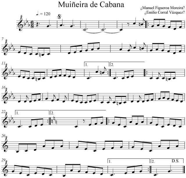 """Beauty And The Beast Sheet Music With Lyrics: Partitura """"Muiñeira De Cabana"""""""