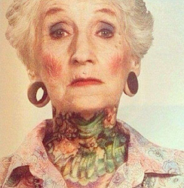 Badass Grandma With Tattoos