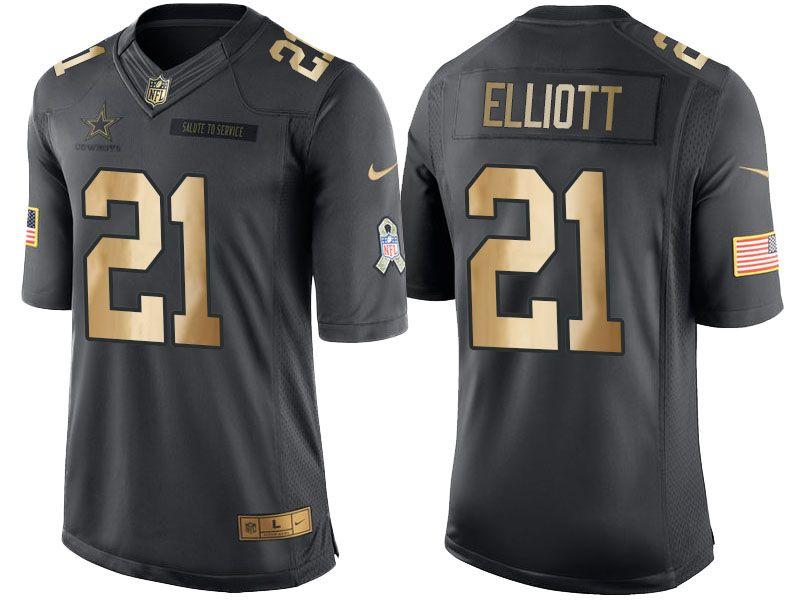 cba734ba Cowboys #21 Ezekiel Elliott Gold Salute to Service 2016 Christmas ...