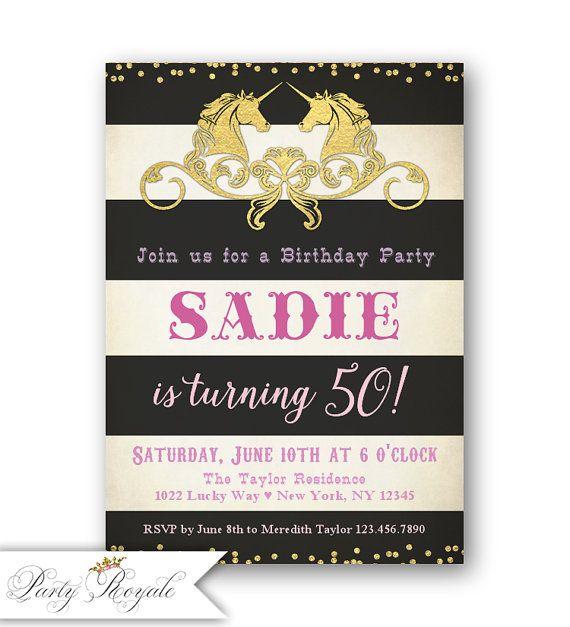 Black and gold 50th birthday invitations unicorn party gold black and gold 50th birthday invitations unicorn party gold filmwisefo Images