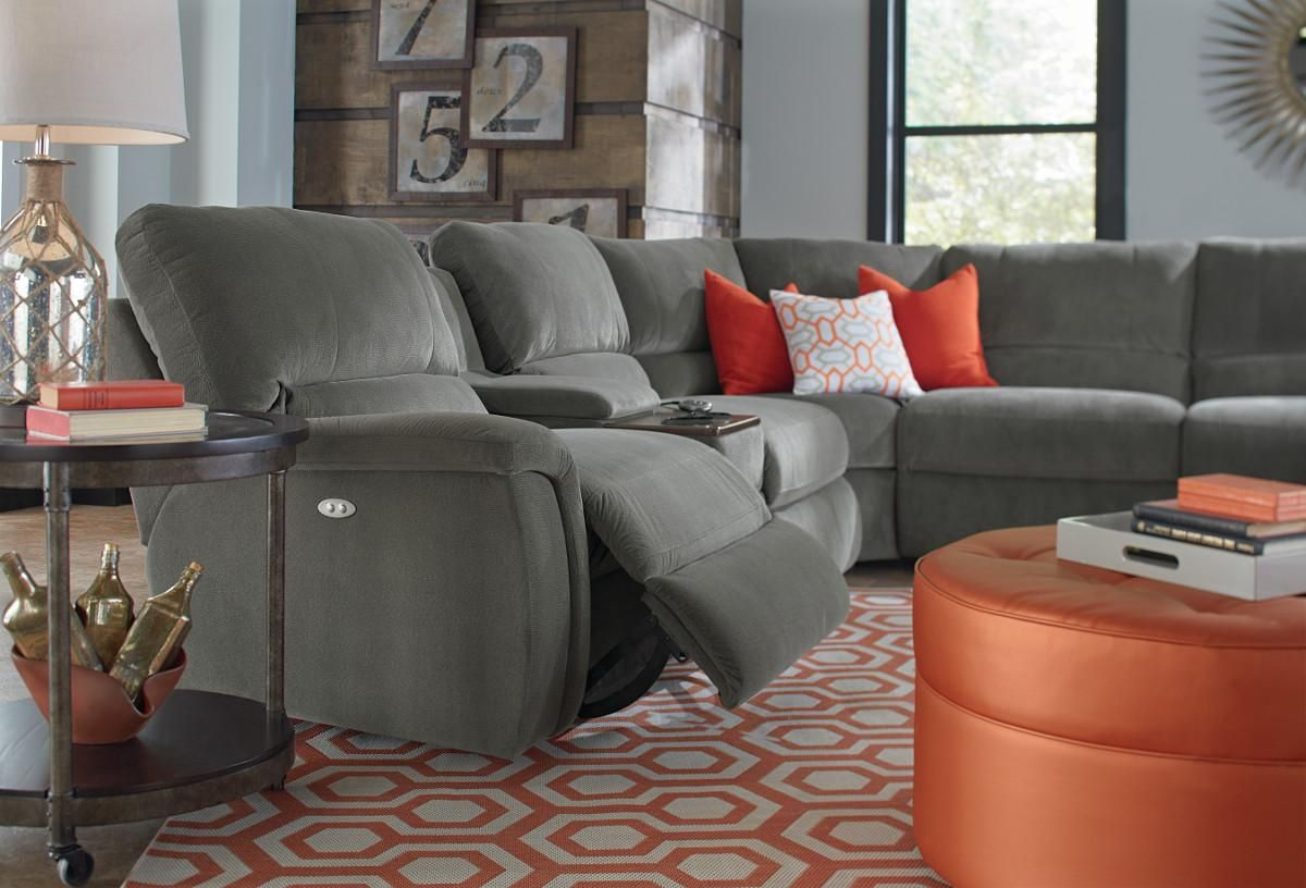 7 Pc Reclining Sectional Sofa W Cupholders Basement