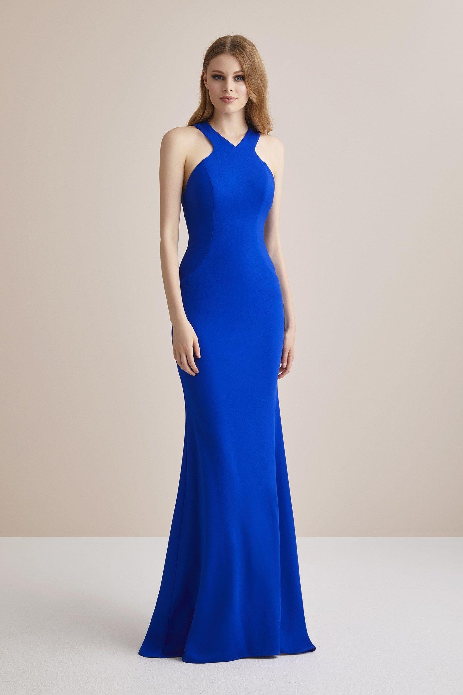 Saks Mavisi Boyundan Bagli Dar Kesim Uzun Abiye Elbise 2020 Elbise Elbiseler Elbise Modelleri