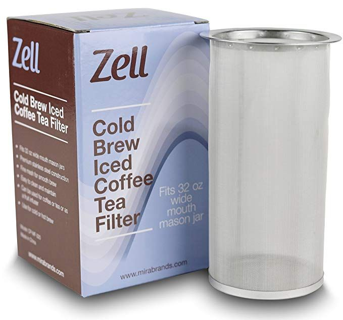 Zell Cold Brew Glass Coffee /& Tea Maker with Fine Mesh Filter 1 Quart