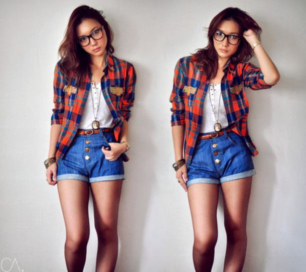 Well-known shirt shorts classy hipster geeky tumblr girl girly tomboy | Style  DK34