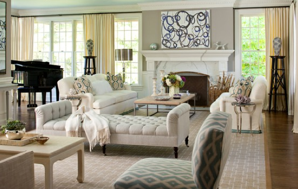 Love the chaise lounges and space for piano