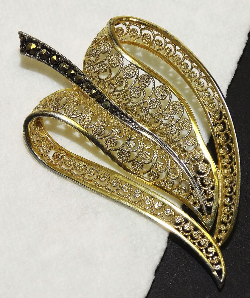Alice caviness pin brooch sterling silver vermeil marcasites