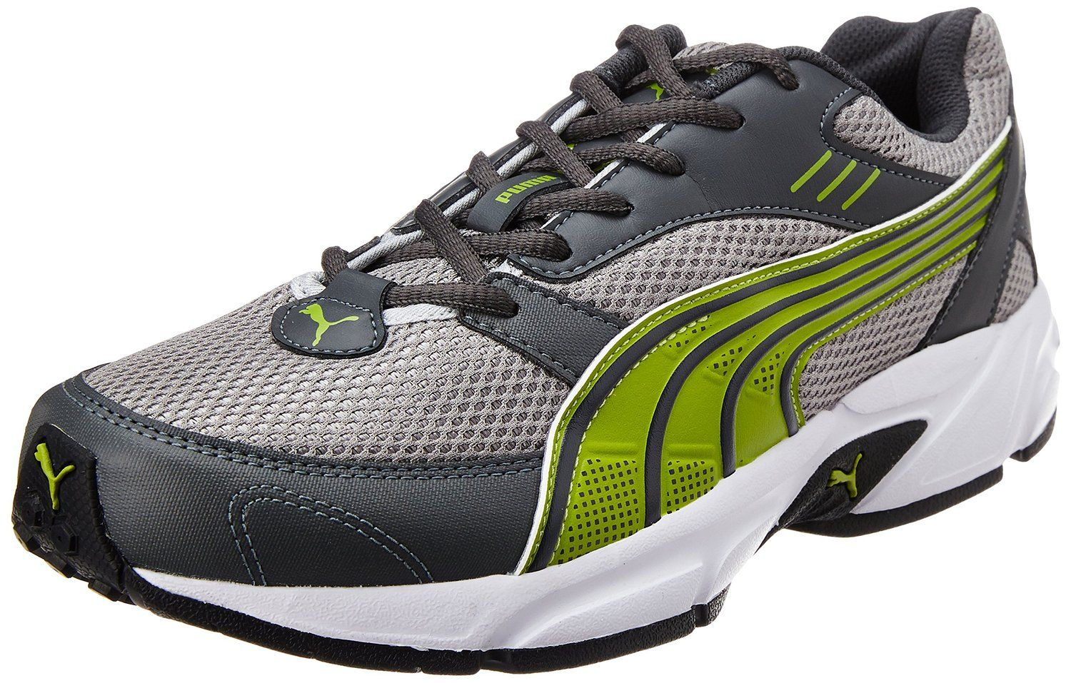 Puma Men S Black Silver Green Gecko And White Running Shoes 8