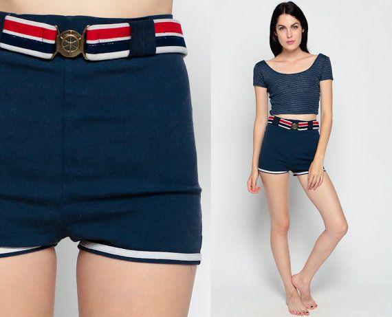 82f828c375b89 Hot Pants Bikini Bottoms Swim Shorts STRIPE High Waist Print Mod Boyshort  NAUTICAL Vintage Hipster 70s Hotpants Blue Belt Extra Small XS