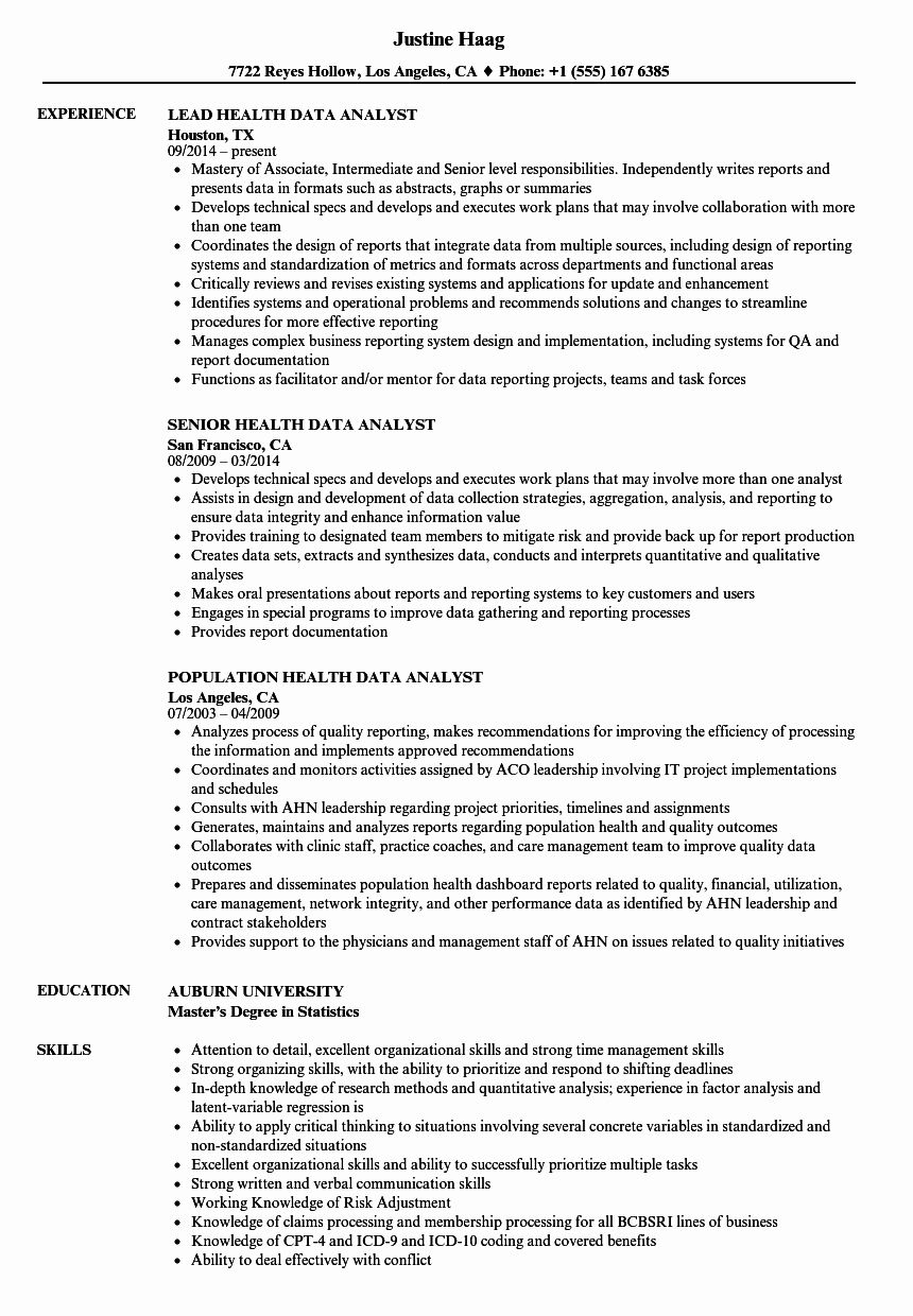 Health Information Management Resume Lovely Health Data