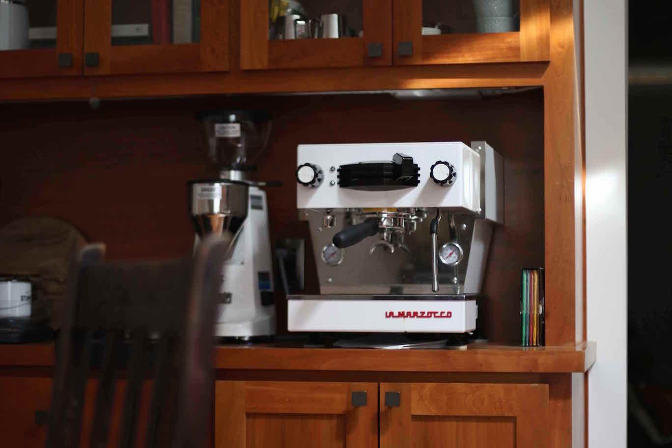 Linea Mini in White in a Dining Room Hutch #home #espresso ...