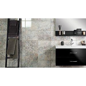 Wickes Avellino Cappuccino Grey Ceramic Tile 360 x 275mm   Bathroom ...