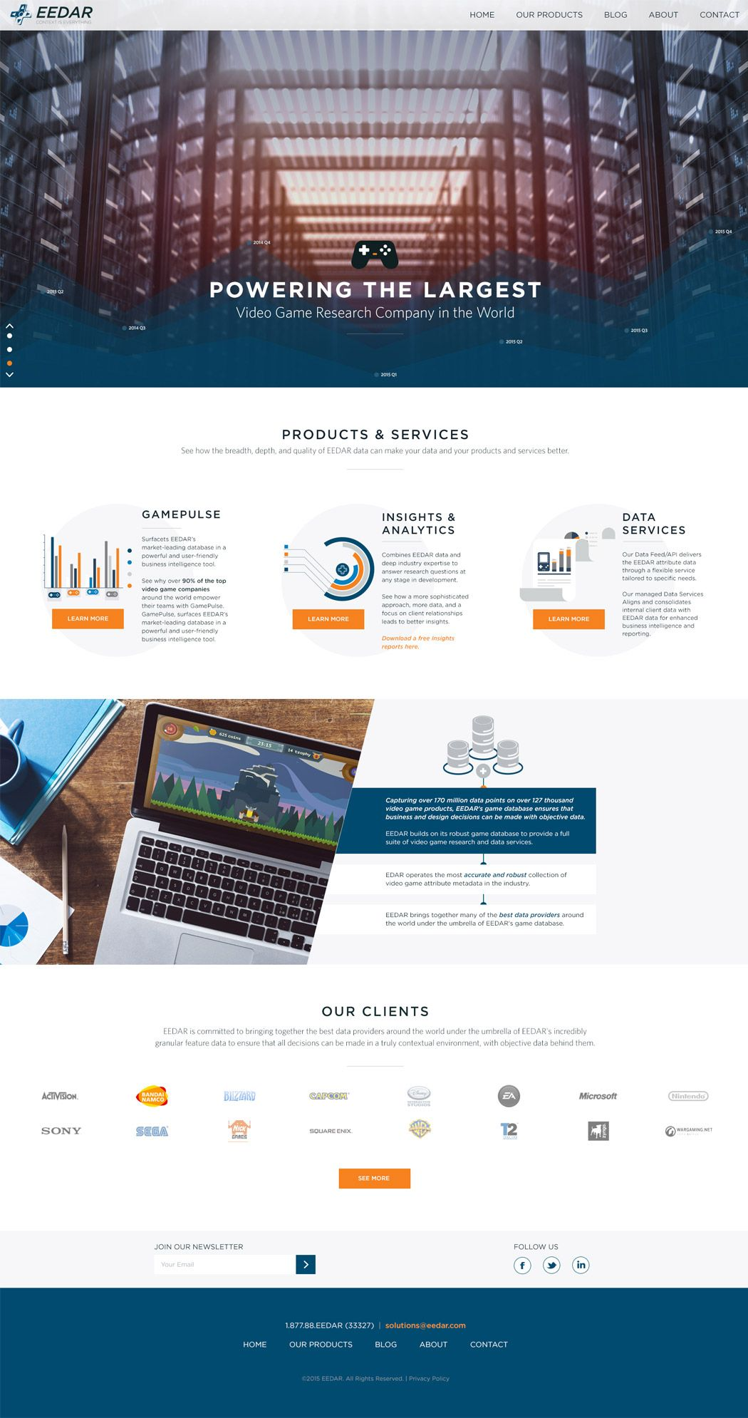 Eedar Powers The Largest Video Game Research Company In The World We Used Their Strong Existing Branding Presence To Website Design Custom Site Service Design