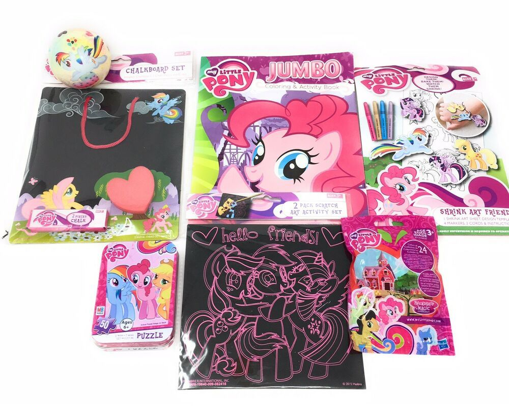 - My Little Pony Coloring Book & Puzzle Chalkboard Bouncy Ball Gift