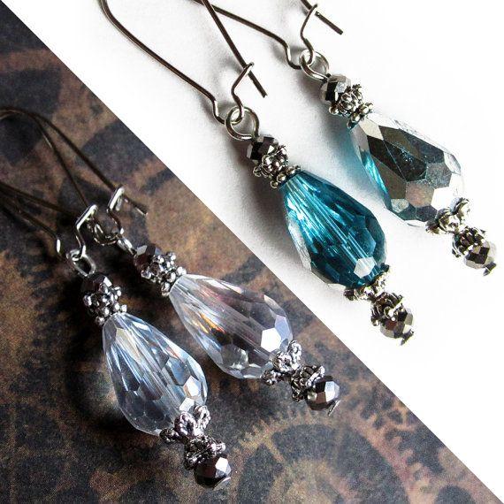 Glass Crystal Earrings, Turquoise Glass Earrings, Glass jewelry, Crystal Dangle Earrings