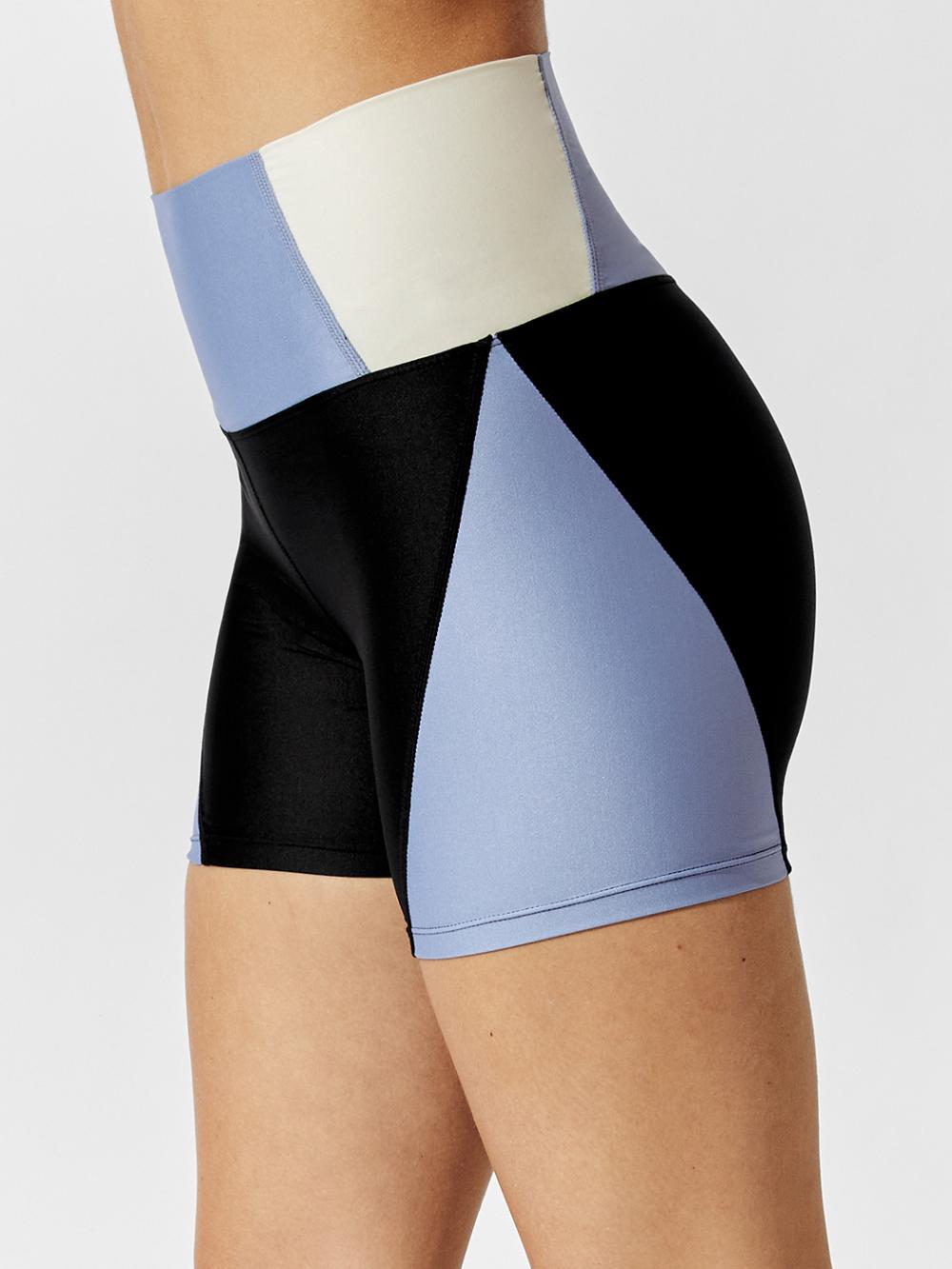 Colorblock Shortie Shorts in Indigo/ Natrual White