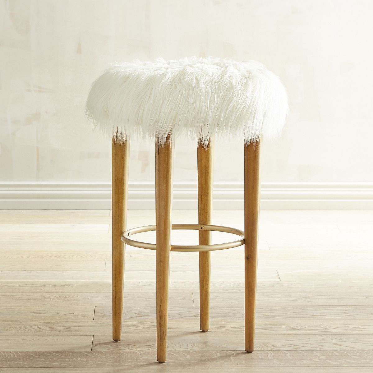 los angeles 5100f e8b7d Kate Faux Fur Bar Stool | stools | Bar stools, Stool, Gold ...
