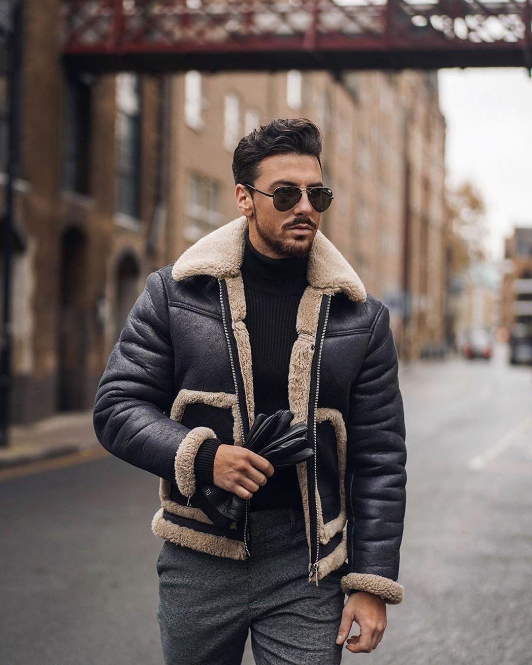 "Mens Fashion Guide on Instagram ""Shearling Is Definitely"