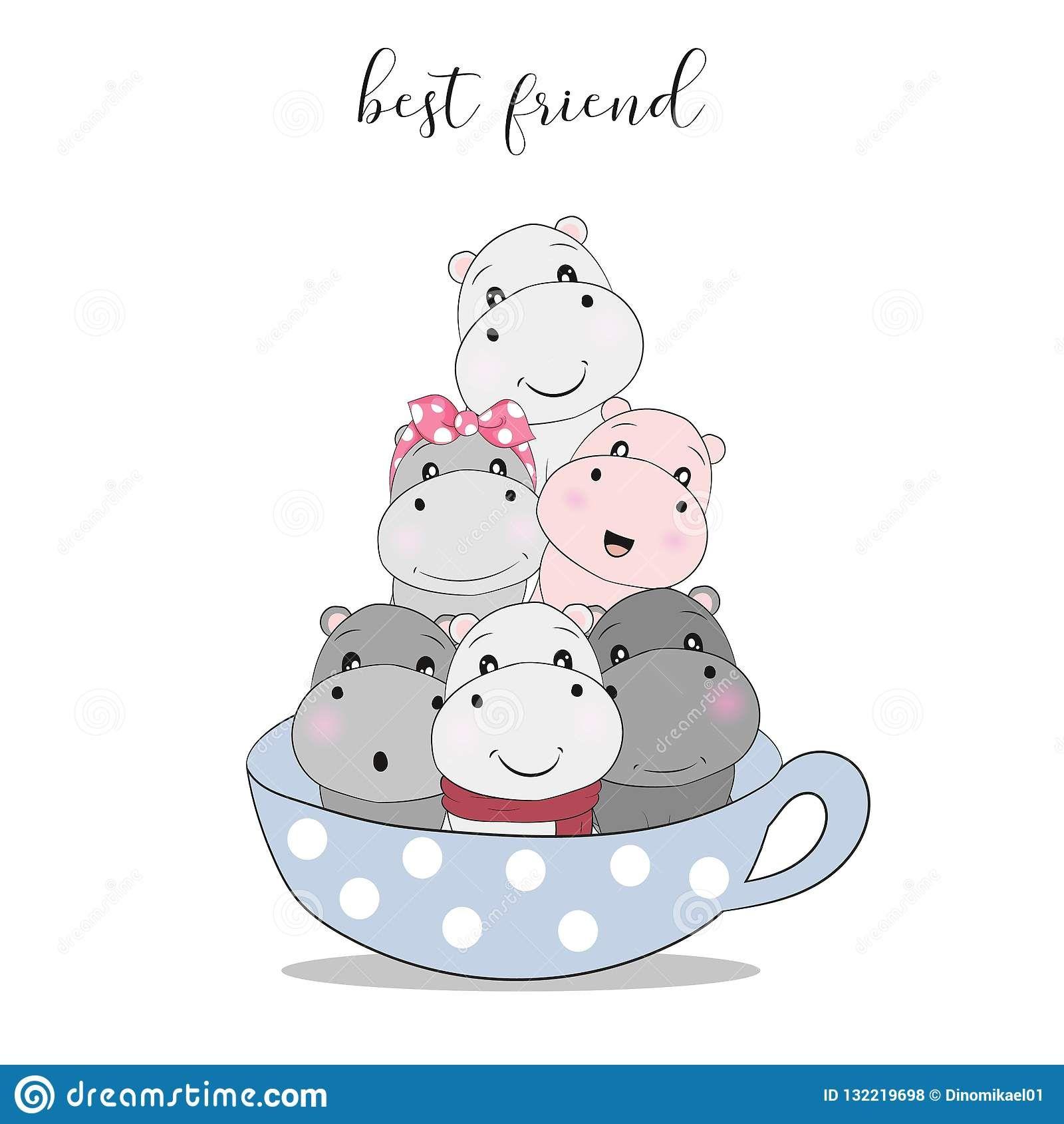 Cute Cartoon Hippo In Cup Tea Stock Vector Illustration Of Isolated Cartoon 132219698 Cartoon Hippo Hippo Drawing Cute Doodles