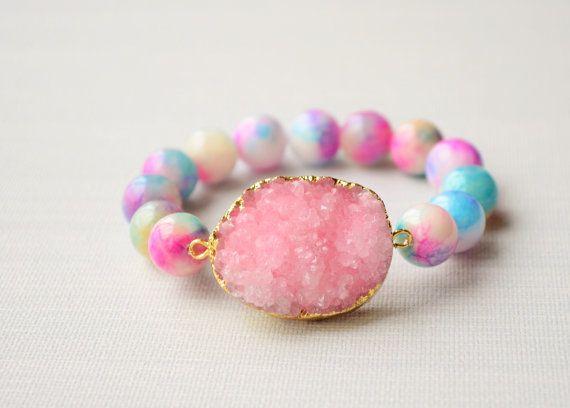 Pink druzy bracelet Agate stretch bracelet with by Schalrausch