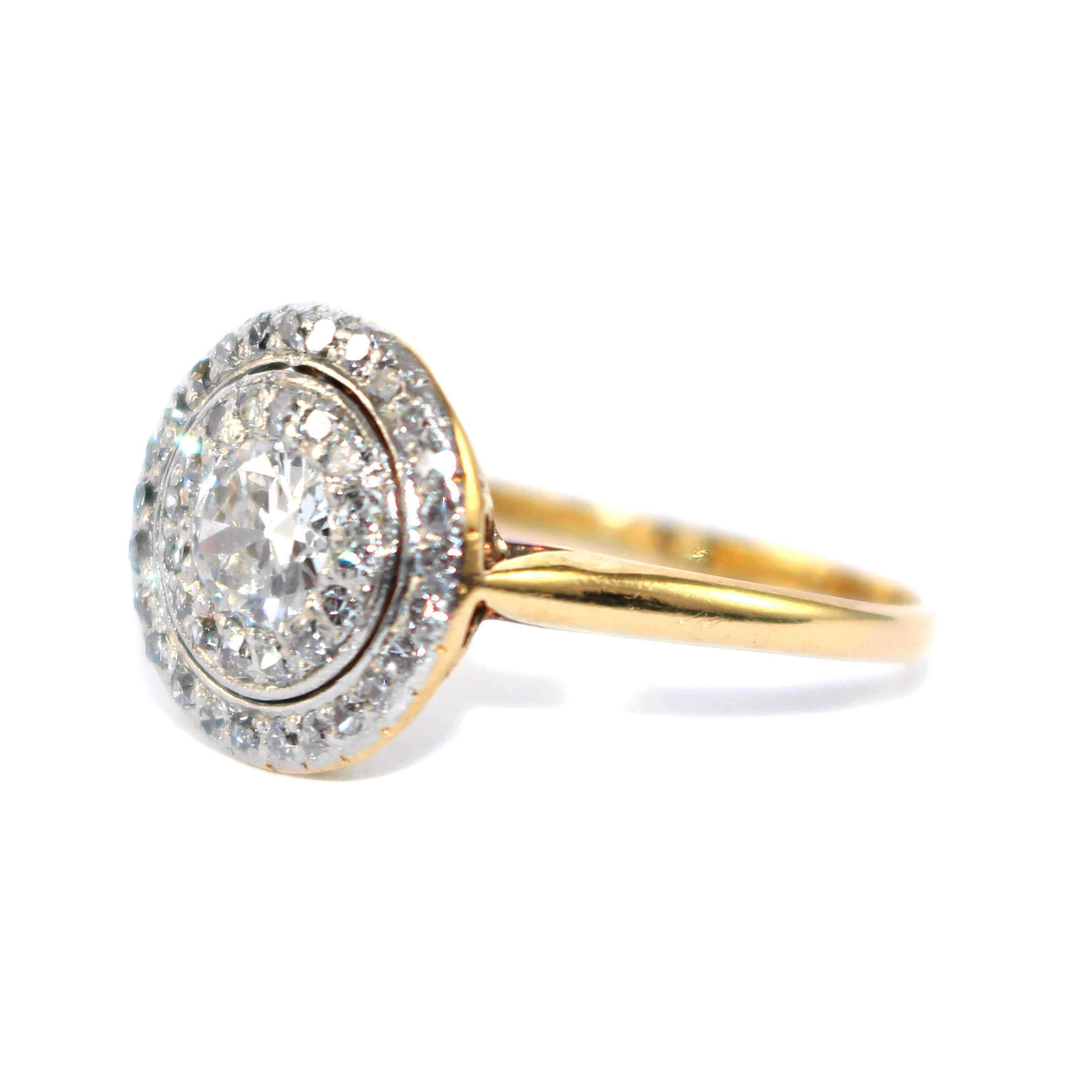 Edwardian Diamond Double Cluster Ring c.1920 in 2020