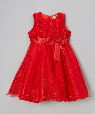 1457add38e31 Love this Red Glitter Rosette Dress - Toddler   Girls by Paulinie on ...