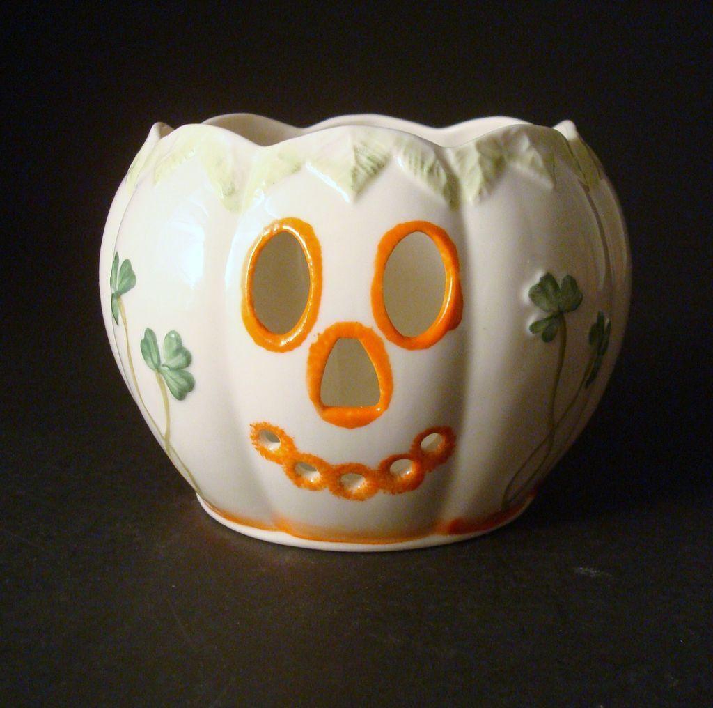 Belleek Jack O' Lantern Pumpkin Votive Holder