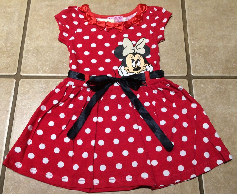 0ac0d9274da NWT Girls Minnie Mouse Red White Polka Dot S S Summer Spring Dress 2T-6 in  Clothing