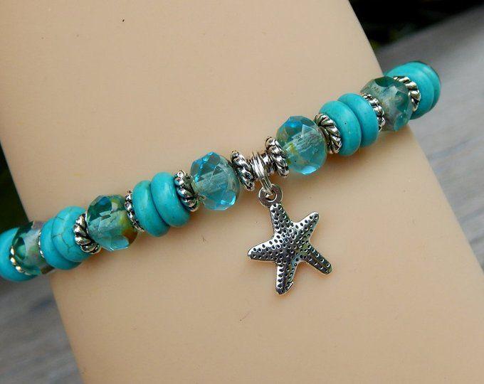Turquoise Bracelet Ocean Jewelry Beach Starfish Blue
