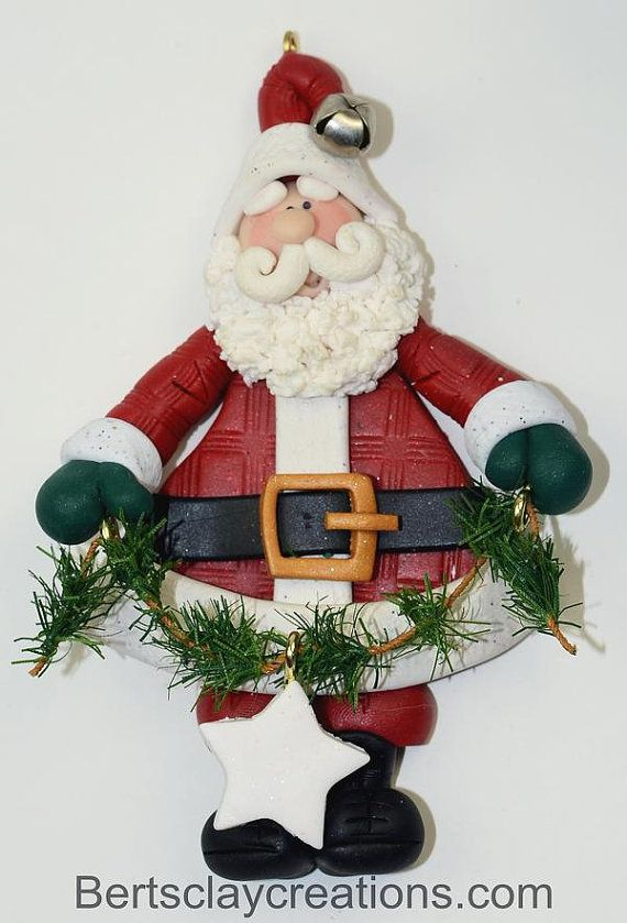 Santa With Garland Ornament 3 Navidad De Arcilla Polimérica Bricolaje De Adornos De Navidad Arcilla De Navidad