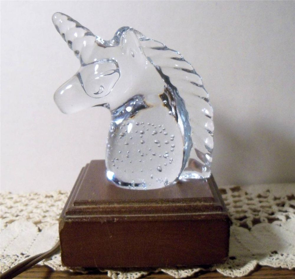 Vintage Crystal Unicorn Paperweight W Electric Lighted Base Night Light Lamp Night Light Lamp Electric Lighter Vintage Crystal