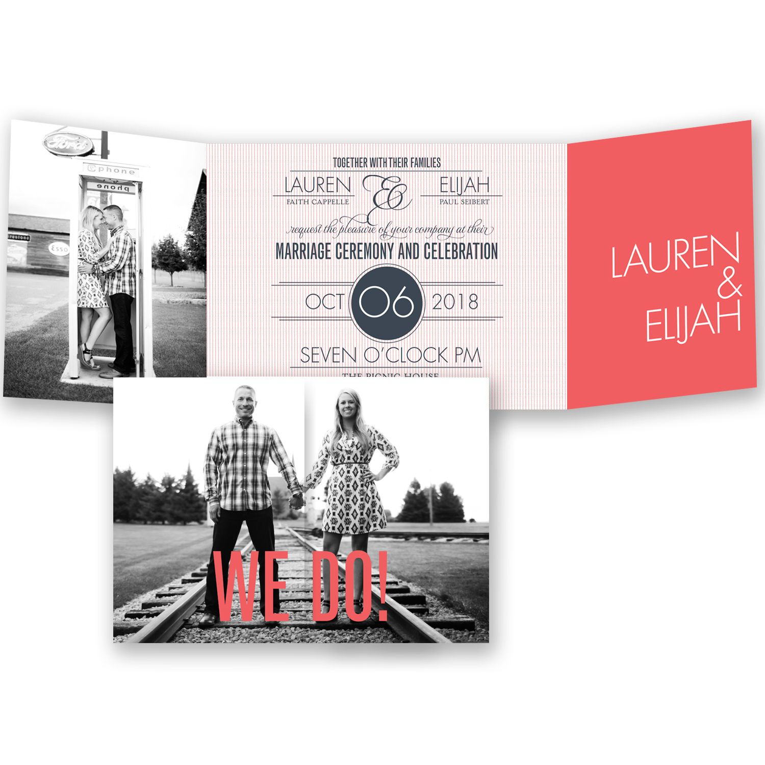 it is official coral photo wedding invitation invitations by davids bridal enter the - Davids Bridal Wedding Invitations