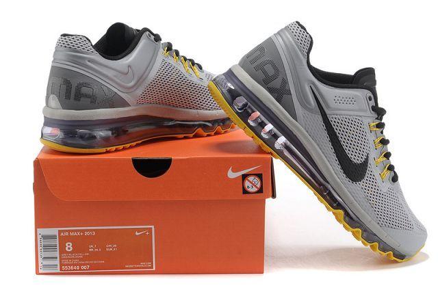 wholesale dealer de73f db563 Nike Air Max 2013 Mens Running Shoes Grey Black Yellow