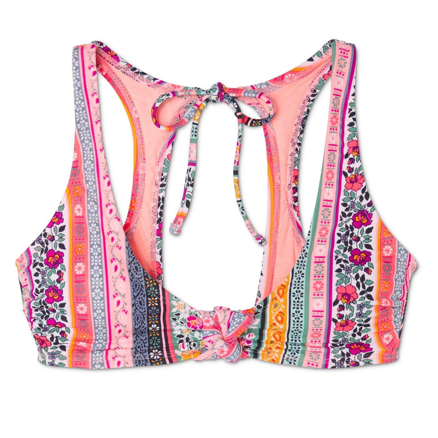48a208c6f6bcf6 Women s Knot Front Tie Back Bralette Bikini Top - Xhilaration  Pink Boho  Stripe D DD Cup  Tie