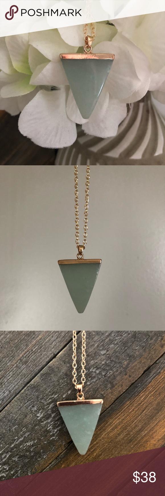 Green quartz triangle necklace boutique in my posh picks
