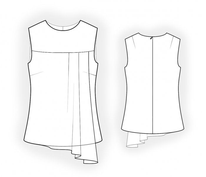 Blouse With Asymmetrical Fly Piece In The Front - Sewing Pattern ...