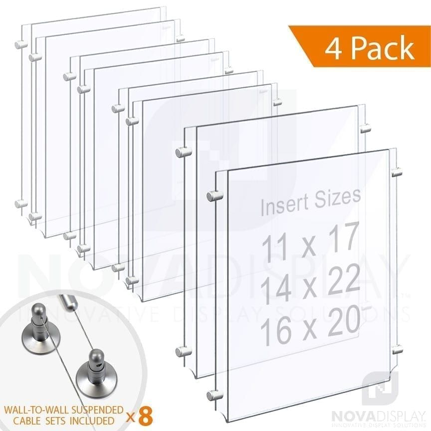 Clear Acrylic Poster Holder Suspended On Wall To Wall Cable System In 2020 Clear Acrylic Poster Display Acrylic Display