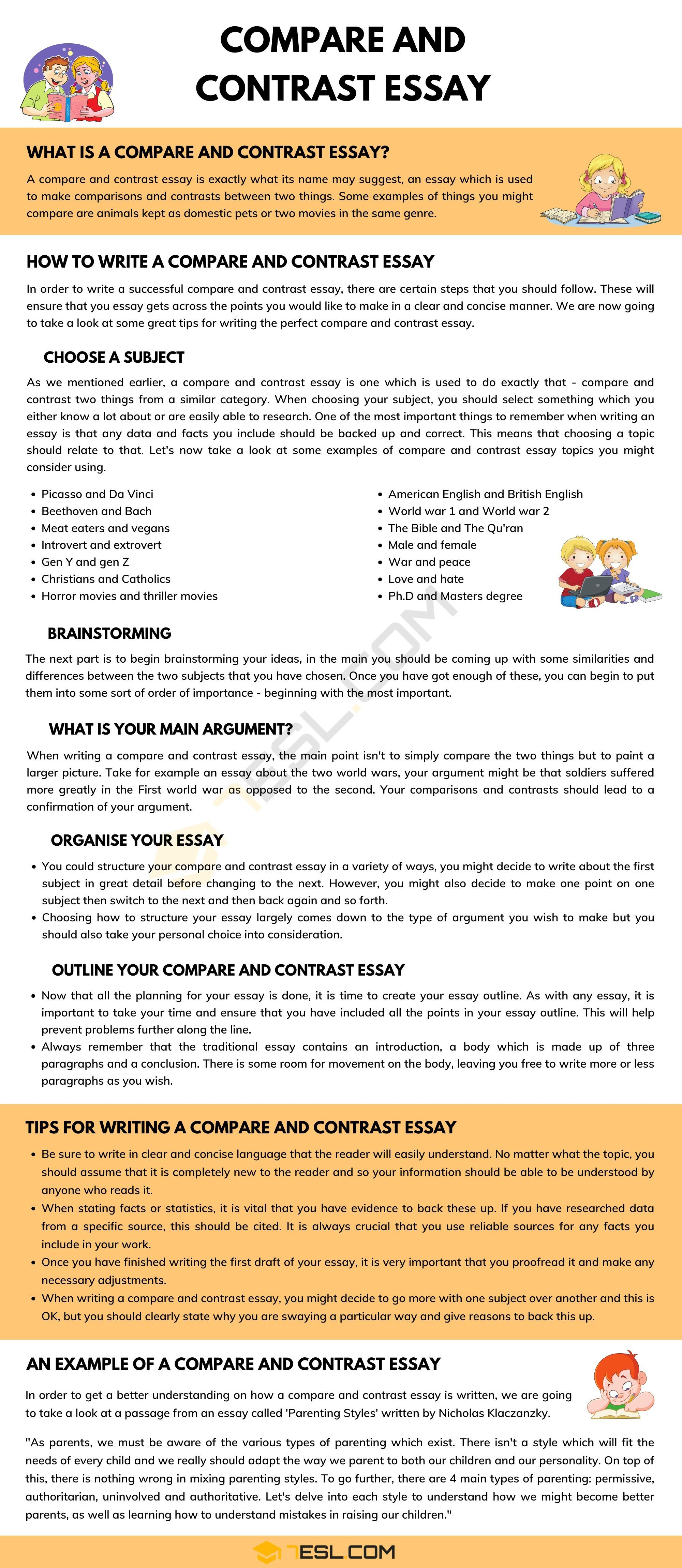 Compare And Contrast Essay Definition Outline And Useful Examples 7esl Essay Writing Skills Compare And Contrast Essay How to write compare and contrast essay