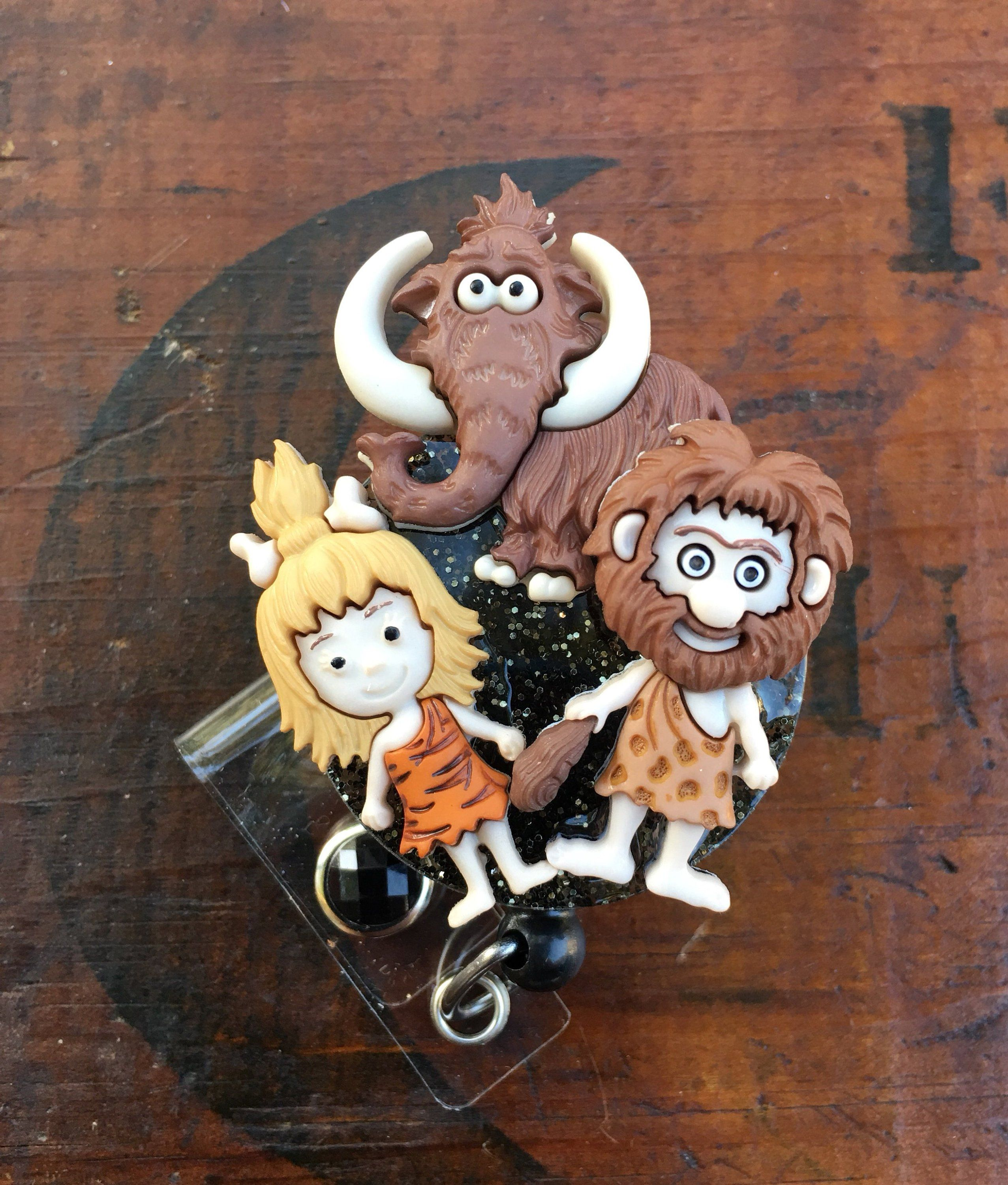 Cave people wooly mammoth id badge rn reel holder or