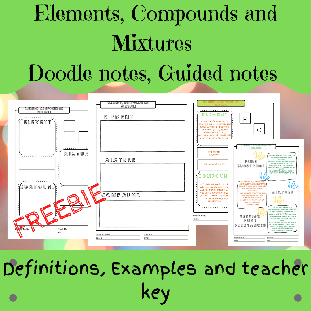 Elements Compounds And Mixtures Doodle Notes Guided