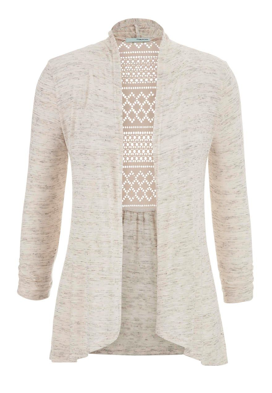 lightweight cardigan with lace back in heathered fabric - maurices ...