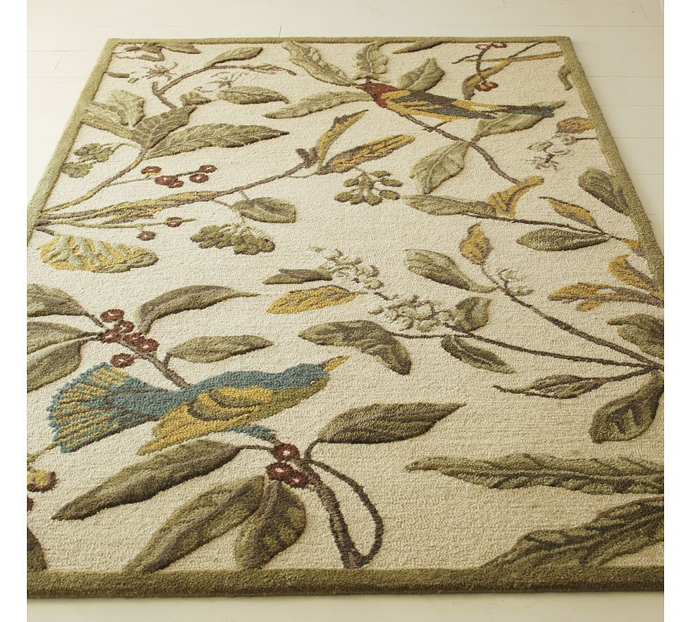 Pottery Barn Spring Sparrow Bird Berries Tufted Persian