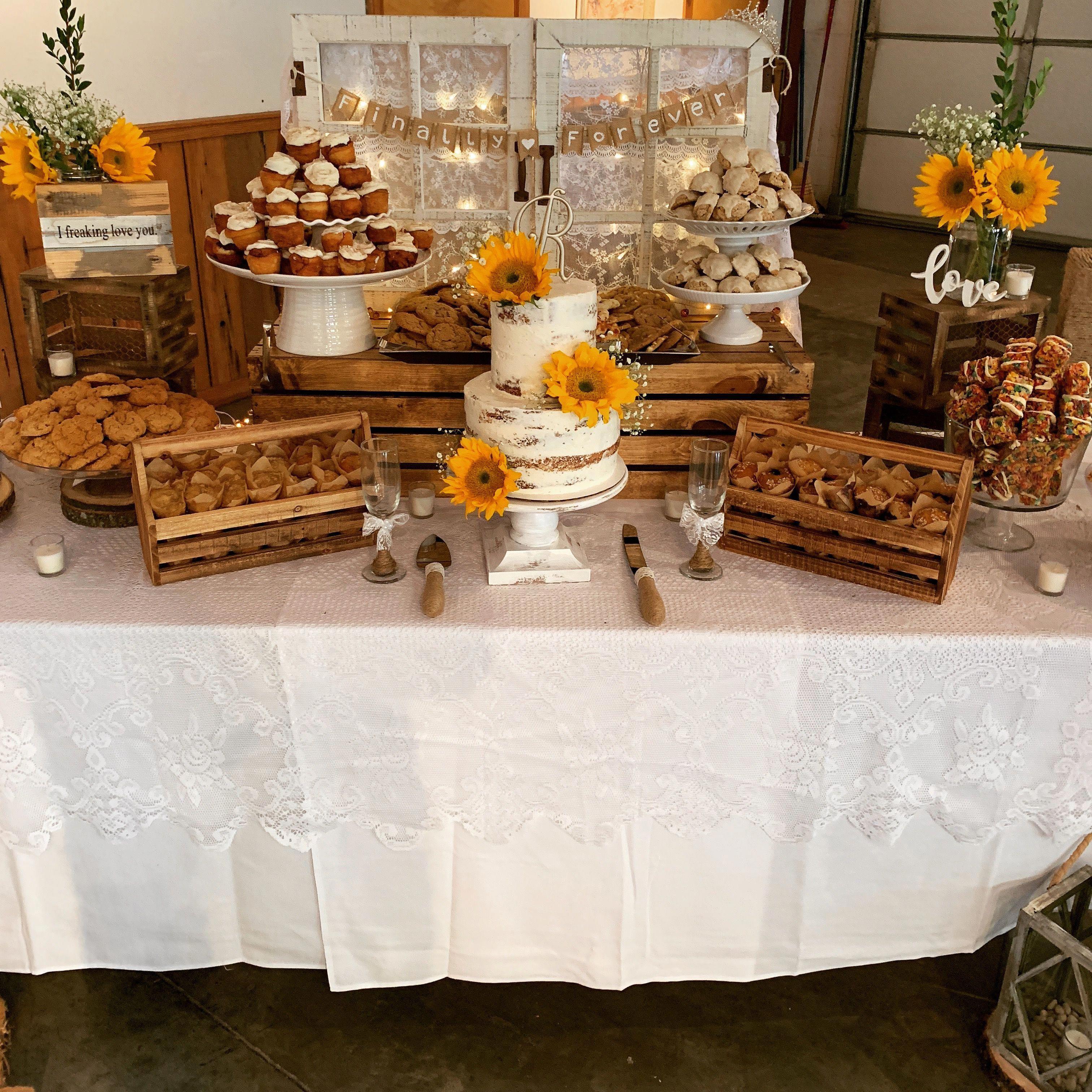 Rustic Wedding Dessert Table Decor With Sunflowers Wedding Dessert Table Rustic Sweets Table Wedding Wedding Dessert Table