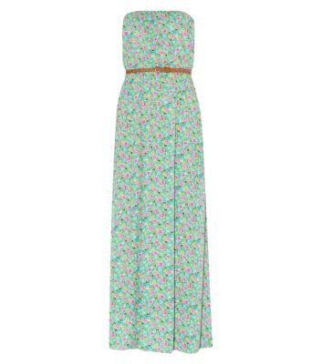 Green Floral Print Belted Maxi Dress
