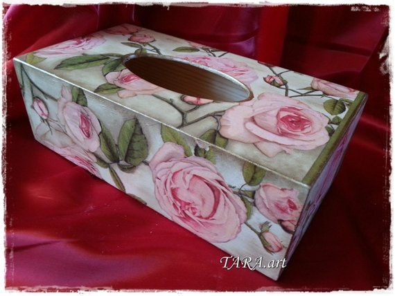 Decoupage tissue box, wooden tissue box, vintage, tissue