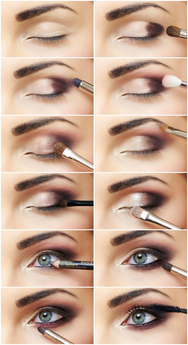 smokey eyes schminken schritt fur schritt bilder blaue Augen